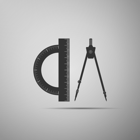 Protractor and drawing compass icon isolated on grey background. Drawing professional instrument. Geometric equipment. Education sign. Flat design. Vector Illustration