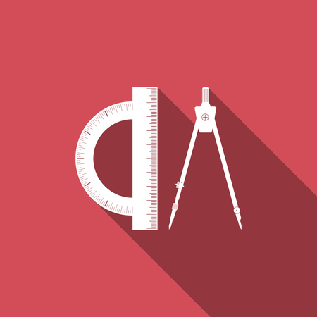 Protractor and drawing compass icon isolated with long shadow. Drawing professional instrument. Geometric equipment. Education sign. Flat design. Vector Illustration Illustration