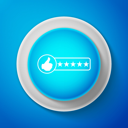 White Consumer or customer product rating icon isolated on blue background. Circle blue button with white line. Vector illustration Ilustrace