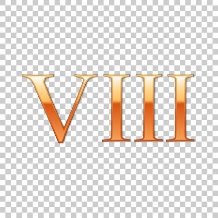 Golden Roman numeral number 8, VIII, eight in alphabet letter isolated on transparent background. Ancient Rome numeric system. Vector Illustration Vektorové ilustrace