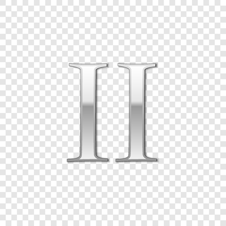 Silver Roman numeral number 2, II, two in alphabet letter isolated on transparent background. Ancient Rome numeric system. Vector Illustration