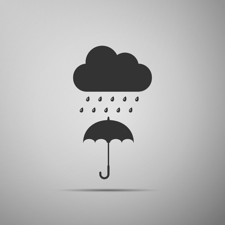 Cloud with rain drop on umbrella icon isolated on grey background. Flat design. Vector Illustration Ilustração