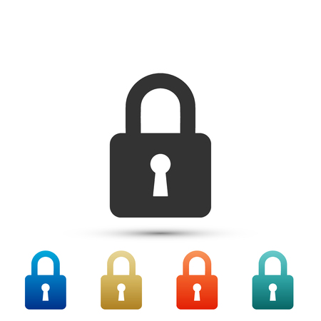 Lock icon isolated on grey background. Set elements in colored icons. Flat design. Vector Illustration