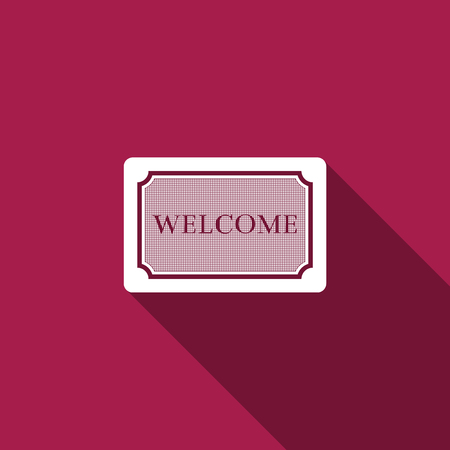 Doormat with the text Welcome icon isolated with long shadow. Welcome mat sign. Flat design. Vector Illustration