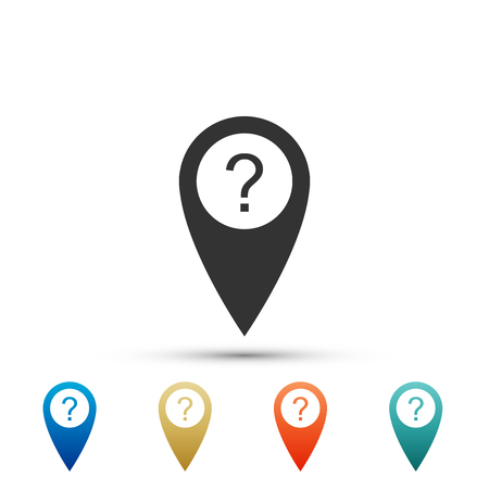 Map pointer with Question symbol icon isolated on white background. Marker location sign. For location maps. Sign for navigation. Index location on map. Colored icons. Flat design. Vector Illustration