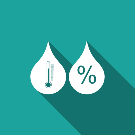 Humidity icon isolated with long shadow. Weather and meteorology, thermometer symbol. Flat design. Vector Illustration 일러스트