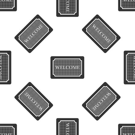 Doormat with the text Welcome icon seamless pattern on white background. Welcome mat sign. Flat design. Vector Illustration