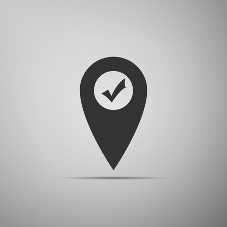 Map pointer with check mark icon isolated on grey background. Marker location sign. Tick symbol. For location maps. Sign for navigation. Flat design. Vector Illustration