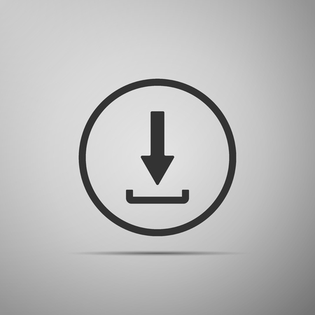 Download icon isolated on grey background. Upload button. Load symbol. Arrow point to down. Flat design. Vector Illustration