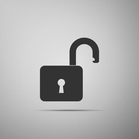 Open padlock icon isolated on grey background. Lock symbol. Flat design. Vector Illustration Illustration