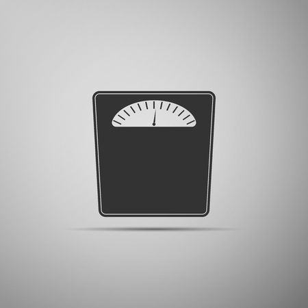 Bathroom scales icon isolated on grey background. Weight measure Equipment. Weight Scale fitness sport concept. Flat design. Vector Illustration