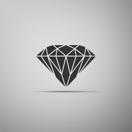 Diamond sign isolated on grey background. Jewelry symbol. Gem stone. Flat design. Vector Illustration