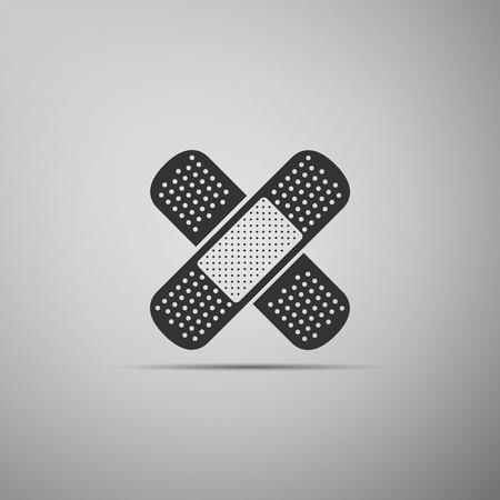 Set Bandage plaster icon isolated on grey background. Medical plaster, adhesive bandage, flexible fabric bandage. Flat design. Vector Illustration Standard-Bild - 114669307