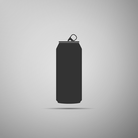 Aluminum can icon isolated on grey background. Flat design. Vector Illustration