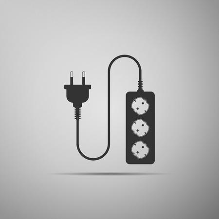 Electric extension cord icon isolated on grey background. Power plug socket. Flat design. Vector Illustration Ilustração Vetorial