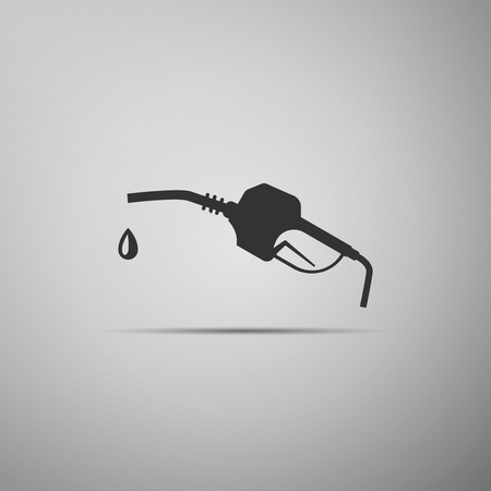 Gasoline pump nozzle icon isolated on grey background. Fuel pump petrol station. Refuel service sign. Gas station icon. Flat design. Vector Illustration Illustration