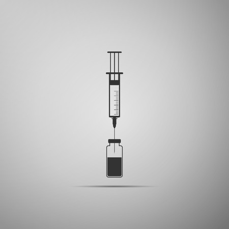 Medical syringe with needle and vial icon isolated on grey background. Concept of vaccination, injection. Flat design. Vector Illustration