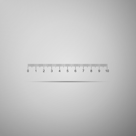Measuring scale, markup for rulers icon isolated on grey background. Size indicators. Different unit distances. Flat design. Vector Illustration