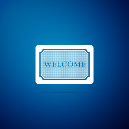 Doormat with the text Welcome icon isolated on blue background. Welcome mat sign. Flat design. Vector Illustration