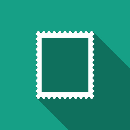 Postal stamp icon isolated with long shadow. Flat design. Vector Illustration Vectores