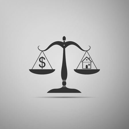 House and dollar symbol on scales icon isolated on grey background. Flat design. Vector Illustration