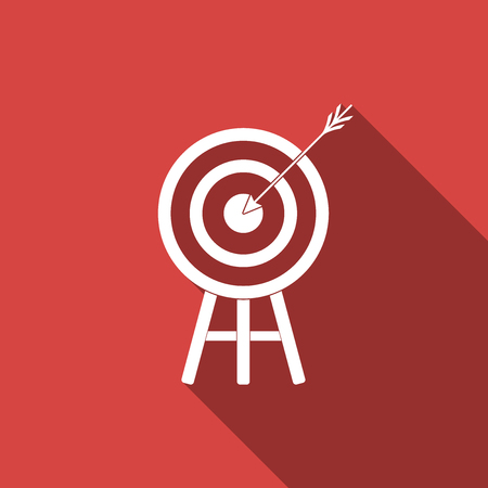 Target with arrow icon isolated with long shadow. Dart board sign. Archery board icon. Dartboard sign. Business goal concept. Flat design. Vector Illustration