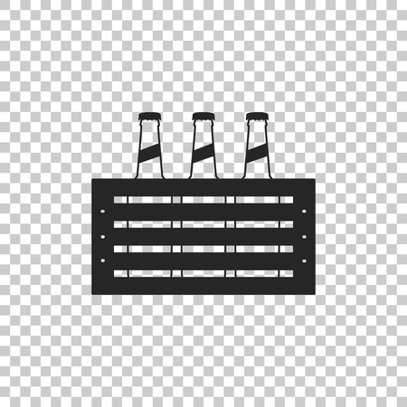 Pack of beer bottles icon isolated on transparent background. Case crate beer box sign. Flat design. Vector Illustration
