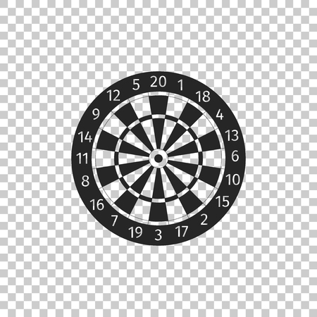 Classic darts board with twenty black and white sectors icon isolated on transparent background. Dart board sign. Dartboard sign. Game concept. Flat design. Vector Illustration