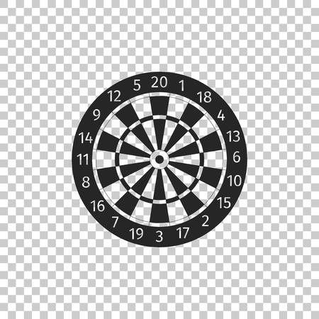 Tablero de dardos clásico con icono de veinte sectores en blanco y negro aislado sobre fondo transparente. Signo de tablero de dardos. Signo de dardos. Concepto de juego. Diseño plano. Ilustración vectorial