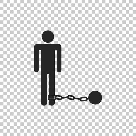 Prisonnier avec boule sur l'icône de la chaîne isolé sur fond transparent. Conception plate. Illustration vectorielle Vecteurs