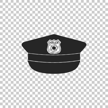 Police cap with cockade icon isolated on transparent background. Police hat sign. Flat design. Vector Illustration