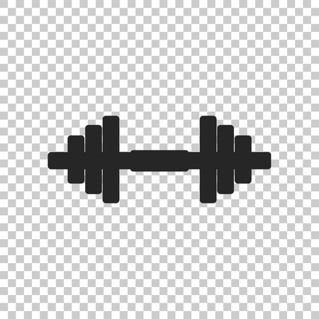 Dumbbell icon isolated on transparent background. Muscle lifting icon, fitness barbell, gym icon, sports equipment symbol, exercise bumbbell. Flat design. Vector Illustration