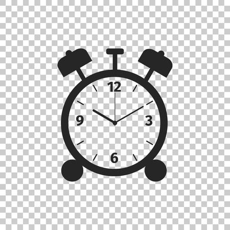 Alarm clock icon isolated on transparent background. Wake up, get up concept. Time sign. Flat design. Vector Illustration