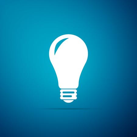 Icono de bombilla aislado sobre fondo azul. Símbolo de energía e idea. Lámpara eléctrica. Diseño plano. Ilustración vectorial