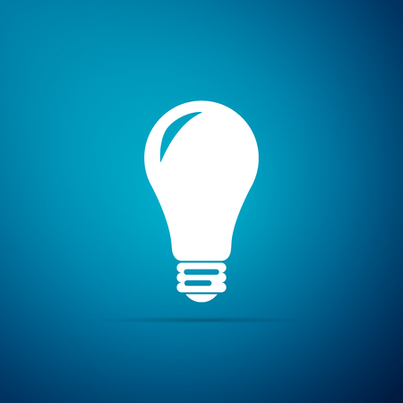 Light bulb icon isolated on blue background. Energy and idea symbol. Lamp electric. Flat design. Vector Illustration