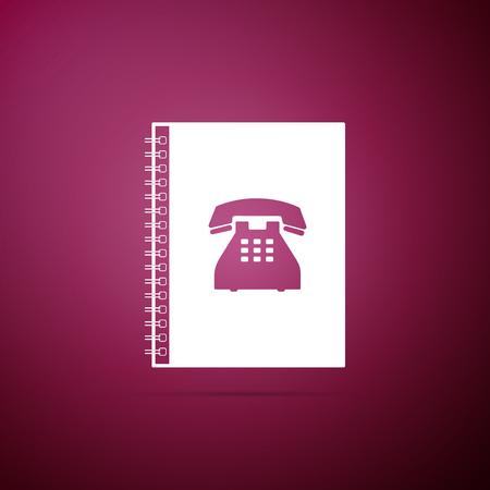 Phone book icon isolated on purple background. Address book. Telephone directory. Flat design. Vector Illustration Illustration