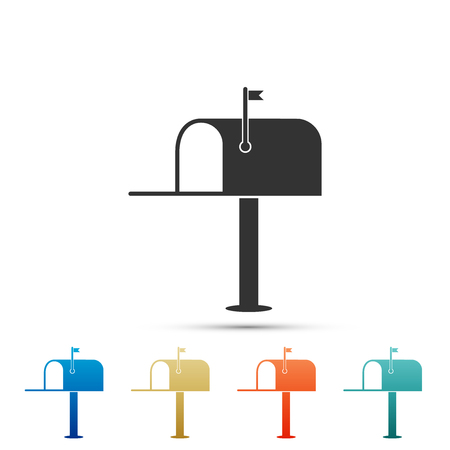 Open mail box icon isolated on white background. Mailbox icon. Mail postbox on pole with flag. Set elements in colored icons. Flat design. Vector Illustration