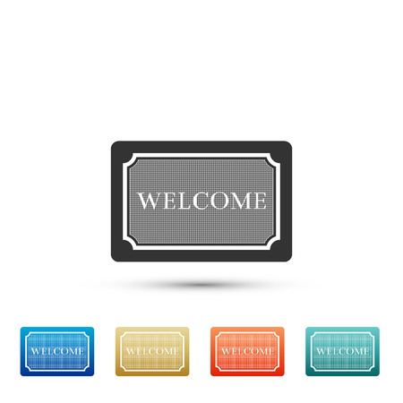 Doormat with the text Welcome icon isolated on white background. Welcome mat sign. Set elements in colored icons. Flat design. Vector Illustration Ilustração