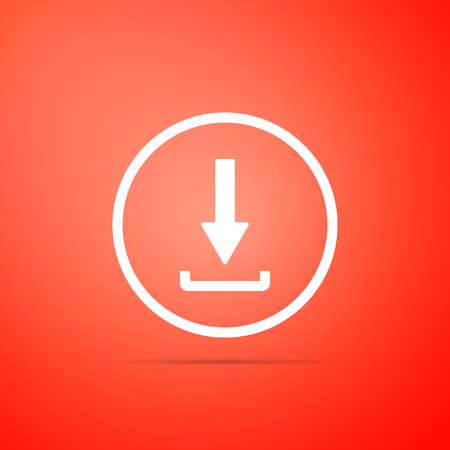Download icon isolated on red background. Upload button. Load symbol. Arrow point to down. Flat design. Vector Illustration Иллюстрация