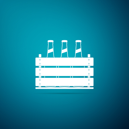 Pack of beer bottles icon isolated on blue background. Wooden box and beer bottles. Case crate beer box sign. Flat design. Vector Illustration