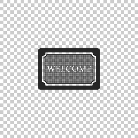 Doormat with the text Welcome icon isolated on transparent background. Welcome mat sign. Flat design. Vector Illustration