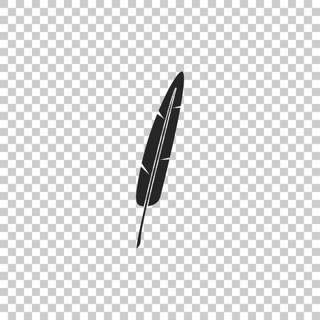Feather pen icon isolated on transparent background. Flat design. Vector Illustration