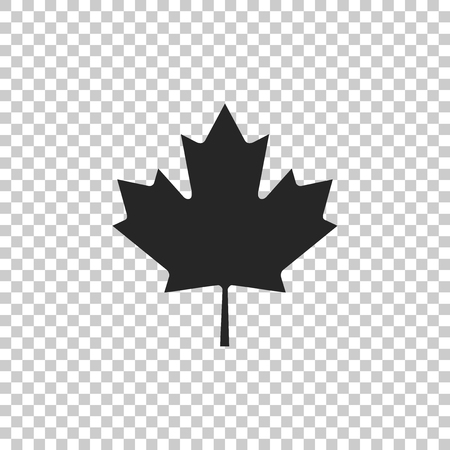 Canadian maple leaf icon isolated on transparent background. Canada symbol maple leaf. Flat design. Vector Illustration
