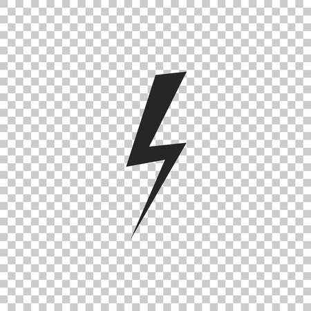 Lightning bolt icon isolated on transparent background. Flash icon. Charge flash icon. Thunder bolt. Lighting strike. Flat design. Vector Illustration