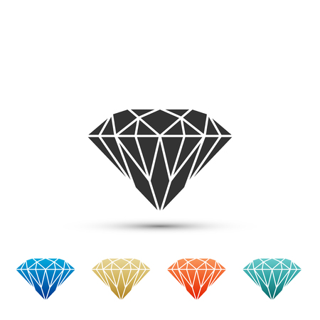 Diamond sign isolated on white background. Jewelry symbol. Gem stone. Set elements in color icons. Vector Illustration Stok Fotoğraf - 118171986