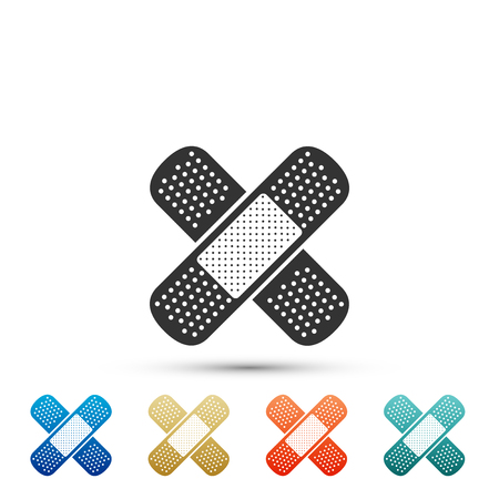 Bandage plaster icon isolated on white background. Medical plaster, adhesive bandage, flexible fabric bandage. Set elements in color icons. Vector Illustration