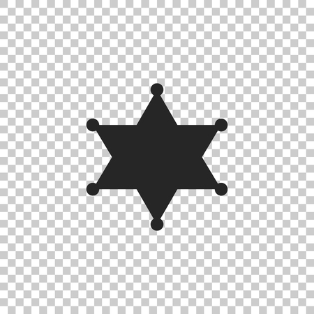 Hexagram sheriff icon isolated on transparent background. Flat design. Vector Illustration Illustration
