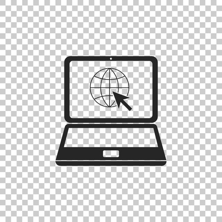 Website on laptop screen icon isolated on transparent background. Laptop with globe and cursor. World wide web symbol. Flat design. Vector Illustration Ilustrace