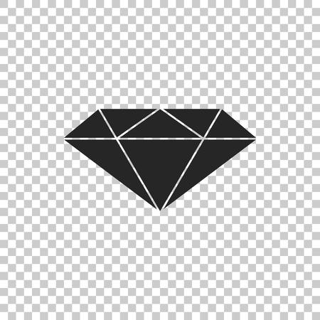 Diamond sign isolated on transparent background. Jewelry symbol. Gem stone. Flat design. Vector Illustration