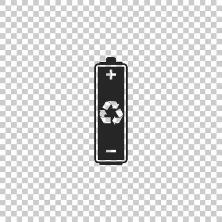 Batterie mit Recycling-Symbol auf transparentem Hintergrund isoliert. Flaches Design. Vektorillustration